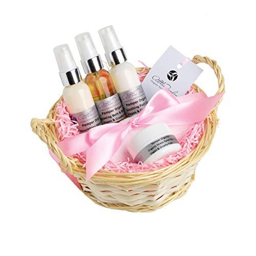 Set regalo di prodotti biologici per la cura della pelle, ideale per donne e mamme, con olio corpo antistress e creme per mani e piedi