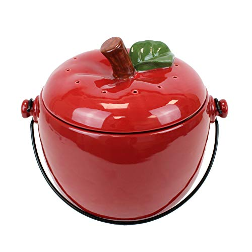 All-Green Red Apple Ceramic Compost Caddy/Kitchen Food Waste Bin (3.5 Litre)