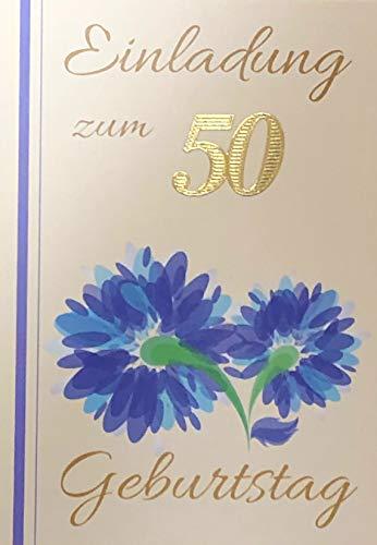 Uitnodigingskaarten 50e verjaardag vrouw man met binnentekst motief blauwe bloem 10 vouwkaarten DIN A6 staand met witte enveloppen in set verjaardagskaarten uitnodiging 50 verjaardag man vrouw K239