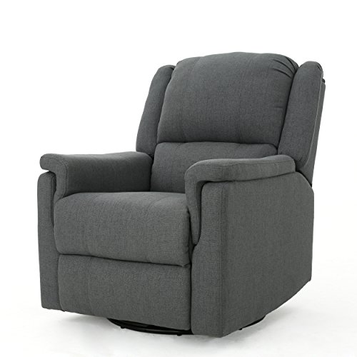 Christopher Knight Home Jennette Tufted Fabric Swivel Gliding Recliner, Charcoal / Black