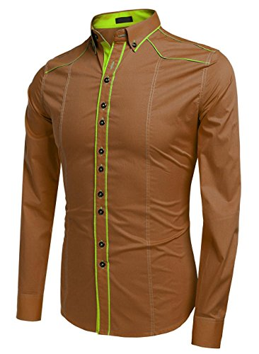 Men Dress Shirts, Cotton Turn Down Collar Contrast Color Slim Fit Fashion Tops