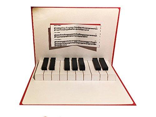 ポップアップグリーティングカード「ピアノ鍵盤 」レッド
