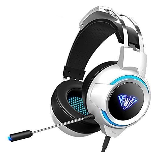 Auriculares de Juego para PS4 Xbox One PC Auriculares de Bajos Profundos con inmunidad de Ruido Mic LED LED Cable de reducción de fricción,Blanco