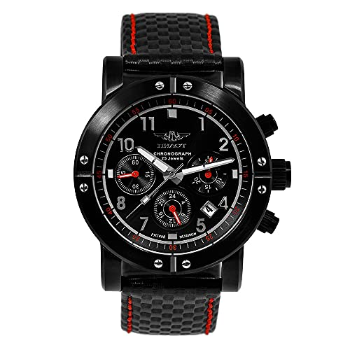 Poljot Pilot P-Sports 43.S 31681 - Reloj con cronómetro ruso mecánico, cuerda manual, deportivo, surfista, color negro