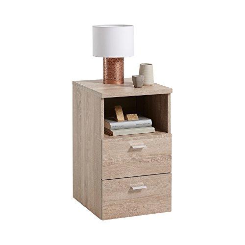 FMD furniture 652-001E, Nachtkonsole in Ausführung Eiche Nachbildung, Maße ca. 35 x 61,5 x 40 cm (BHT), Melaminharz beschichtete Spanplatte
