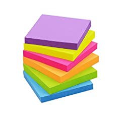 [SIZE] - 3x3 in, 6 Pad/Pack, 100 sheets/Pad, Total 600 sheets. [COLORFUL] - 6 different bright colors for multiple use and easily notice. [STICKINESS] - This notes are recyclable because of it's strong stickiness for stick and re-stick. [SCENARIOS] -...