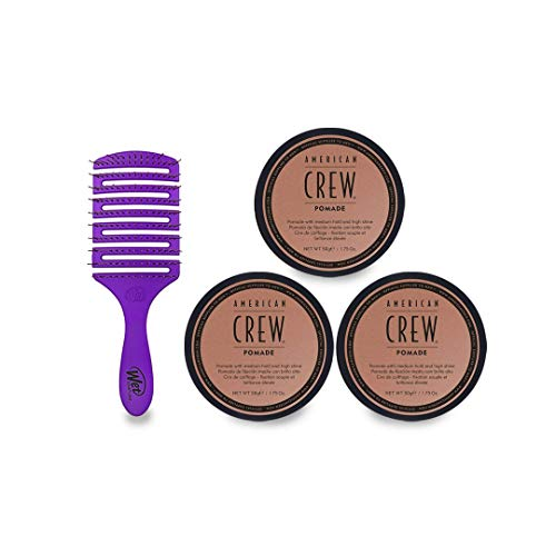 Pomade for Men and Women - Medium Hold and High Shine - Includes Wet Brush - 3 oz- 3 Pack