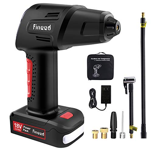 fineed Tire Inflator Air Compressor,18V Cordless Car Tire Pump with Pressure Gauge Air Digital Pump for Cars, SUVs, RV Bicycles and Motorcycles, 55L/Min, 145 PSI 2000mAh Rechargeable li-ion Battery