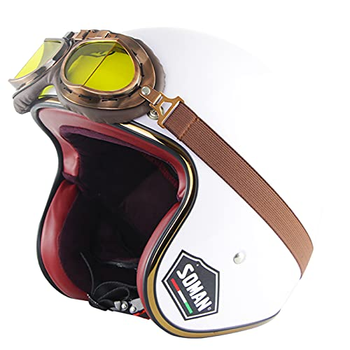 Casco Abierto 3/4 De Motocicleta Para Adultos, Medio Casco De Motocicleta Retro Vintage Con Gafas Vintage, Cascos De Moto Unisex, Ciclomotor De Verano, Aprobado Por DOT/ECE,Blanco,XXL