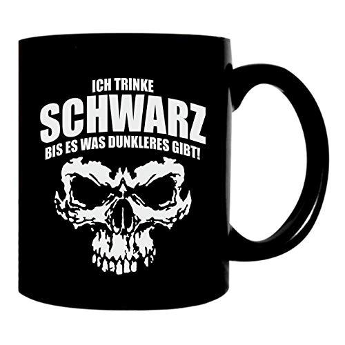 Kaffeetasse schwarz 300ml große Tasse bedruckt mit Fun Motiv Ich trinke Schwarz