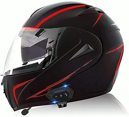 Motorbike Helmet Casco integral para motocicleta con Bluetooth, aprobado por ECE / DOT, doble lente, tapa abatible, casco para motocicleta, antiniebla, doble visor, abatible hacia arriba, modular y an
