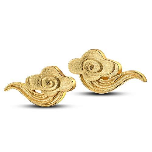 Lotus Fun 18 Karat Gold Glückliche Friedenswolke Ohrstecker Echte 925er Sterling Silber Ohrringe Designer Fein Schmuck für Frauen Geschenk