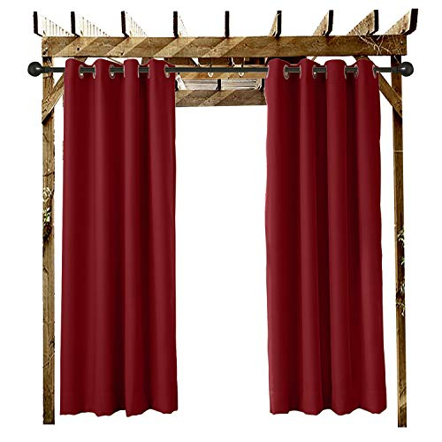 Gazebo Dock and Beach Home. Covered Patio Outdoor Curtain Black 52 W x 84 L Pinch Pleated For Track or Traverse Rod with Ring,at Front Porch Cabana Pergola