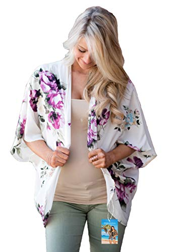 YULOONG - Kimono suelto para mujer, diseño floral, para verano, blusa informal, sexy, para la playa Blanco a XXXL