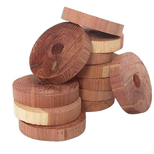 TGUS - Repellente contro le tarme in legno di cedro, 20 anelli di sospensione per palline di cedro, deodoranti per cassetti, protezione dei vestiti contro gli odori, per armadi, cassetti