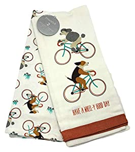 Dogs riding bicycles kitchen towel set