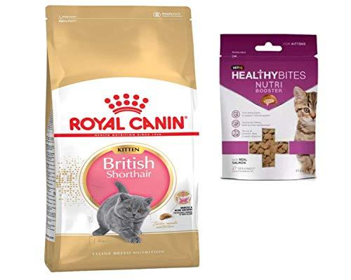 Royal Canin British Shorthair Kitten 400g and VetIQ Nutribooster Kitten Healthy Bites 65g