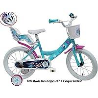 Disney - Bicicleta Infantil de 16 Pulgadas, diseño de niña Frozen con 2 Frenos para Puerta popa AR + Casco de Bicicleta Infantil, Multicolor, 16 Pulgadas