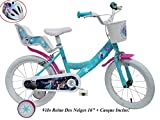 Disney VELO 16' FILLE FROZEN 2 FREINS PORTE POUPEE AR + CASQUE Vélo enfants, Multicolore, 16''