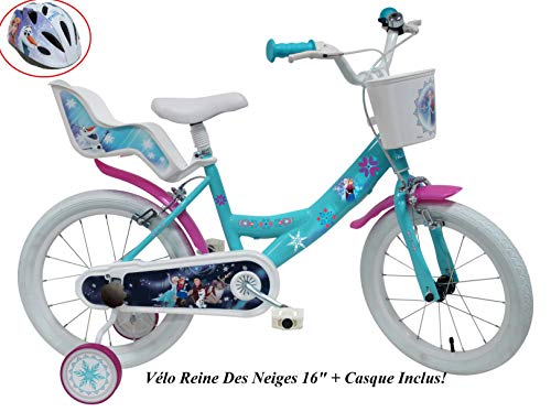 Disney VELO 16' FILLE FROZEN 2 FREINS PORTE POUPEE AR + CASQUE Vélo enfants, Multicolore, 16''