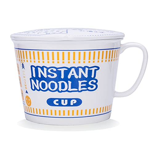 MDZF SWEET HOME 800ml Ceramic Instant Noodle Bowl with Handle and Lid Microwavable Safe Soup Salad Cereal Bowl for Dormitory Office Home Cup Shape