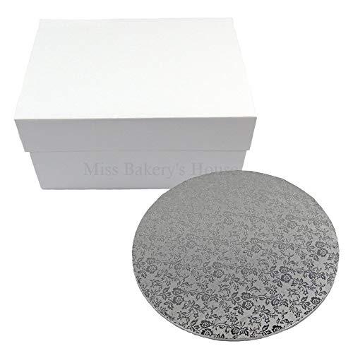 Miss Bakery's House® Cake Box mit MDF Board - 25x25x15 cm - Weiß - Tortenunterlage