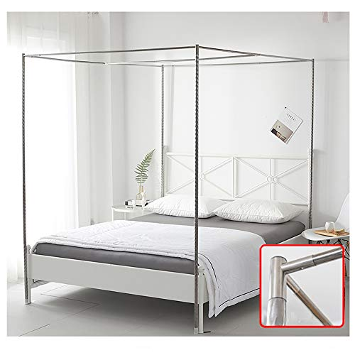 HOXMOMA Upgrade Bed Canopy Bracket, Edelstahlmastrahmen für Moskitonetz, Verdickter Bettständer mit Gewinde und Metall-T-Stecker, 4 Ecken Bettpfosten,24mm,1.8×2m Bed