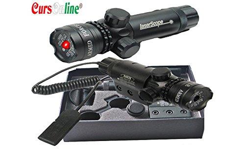 CursOnline Puntatore Laser di Precisione per Fucile Pistola Caccia Softair Tiro di Colore Rosso Set Completo di Attacchi, Cordino Remoto, Batteria e Caricabatterie. Distanza 500 Metri