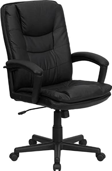 Emma Oliver High Back Black Leather Layer Padded Swivel Office Chair With Arms