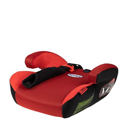 HEYNER® Autokindersitz Sitzerhöhung 15-36 kg Kinder-Auto-Sitzerhöhung extra schmal, für Sportsitze geeignet, Sitzerhöhung Kindersitz Farbe Racing Red