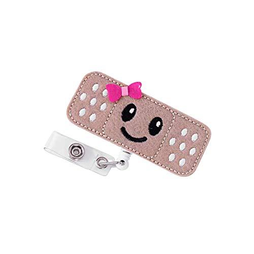 Surlove Niedliches Emoji-Herzschlag Krankenschwester, einziehbar, mit Krokodilklemme, rund, Namensschild-Halter Pink Bowknot