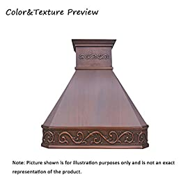 """SINDA Natural Beautiful Copper Kitchen Hood, Handcrafted by Skilled Artisan, Comes with High Air Flow Motor Fan, 42""""Wx39""""H, Smooth-Antique Copper, Island Mount, H14BA-SCI4239 2 SIZE: Island Mount 42""""Wx39""""H.The width of an island mount copper range hood should be 3-6 inches wider than the cooktop. And the height range between your cooktop and the copper range hood should be from 30 to 36 inches. We suggest a height of 36 inches for an island mount. Custom sizes available upon request by email. Material: 16 gauge pure virgin copper. PATINA&TEXTURE: Smooth; Antique Copper. Want to touch a real finish? You may click on this link: https://www.amazon.com/dp/B07Q3FS4NQ. BASIC EQUIPMENT: Stainless Steel 304 Vent with Liner and Internal Motor, Reusable Baffle Filter, Grease Channel, Yellow LED lights(3W 12V) and 4-Speed Control; Powerful Airflow Fan: (30""""/36""""W: single motor, 610 CFM, 6"""" round duct; 42""""/48""""W: dual motors, 960CFM, 8"""" round duct); Ductless and remote blowers with In-line liner options available upon request by email;"""