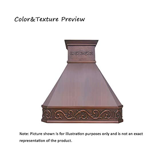 """SINDA Natural Beautiful Copper Kitchen Hood, Handcrafted by Skilled Artisan, Comes with High Air Flow Motor Fan, 42""""Wx39""""H, Smooth-Antique Copper, Island Mount, H14BA-SCI4239 1 SIZE: Island Mount 42""""Wx39""""H.The width of an island mount copper range hood should be 3-6 inches wider than the cooktop. And the height range between your cooktop and the copper range hood should be from 30 to 36 inches. We suggest a height of 36 inches for an island mount. Custom sizes available upon request by email. Material: 16 gauge pure virgin copper. PATINA&TEXTURE: Smooth; Antique Copper. Want to touch a real finish? You may click on this link: https://www.amazon.com/dp/B07Q3FS4NQ. BASIC EQUIPMENT: Stainless Steel 304 Vent with Liner and Internal Motor, Reusable Baffle Filter, Grease Channel, Yellow LED lights(3W 12V) and 4-Speed Control; Powerful Airflow Fan: (30""""/36""""W: single motor, 610 CFM, 6"""" round duct; 42""""/48""""W: dual motors, 960CFM, 8"""" round duct); Ductless and remote blowers with In-line liner options available upon request by email;"""