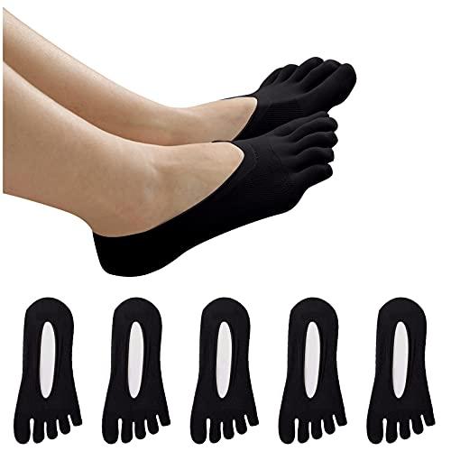WSFD DUTYLOVE Calcetines Tobilleros Transpirable invisible 5 pares Mujeres Cinco dedos del pie Tobillo Transatlántico Antideslizante Anti fricción Malla Respirable Calcetines (Negro)