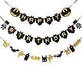 Batman Birthday Decorations Batman Happy Birthday Banner & Garland for Kids Birthday Super Hero Batman Theme Party Favor Gold Glitter Supplies