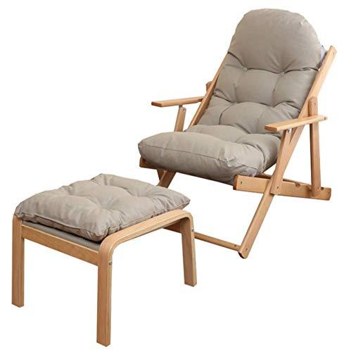 Holzliegestuhl mit Fußbank Faltbare Lounge Chair verstellbaren Liegestühlen for Wohnzimmer, Schlafzimmer und Büro