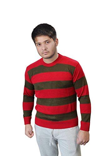 Islander Fashions Herren Strickpullover Freddy Krüger rot & grün gestreift Halloween Kostüm (S-2X) Gr. XXL, Red & Green Stripe