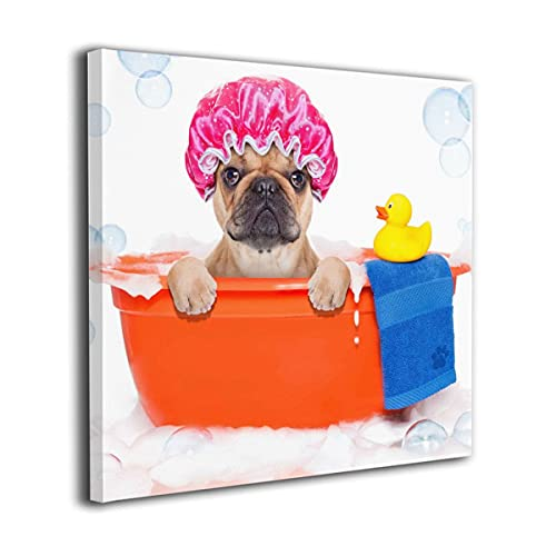 Amonee 16'x16' Canvas Wall Art Print French Bulldog Dog in A Bathtub with Yellow Plastic Duck and Towel Framed Canvas Pictures Prints Contemporary Artwork Ready to Hang for Home Decoration Wall Decor