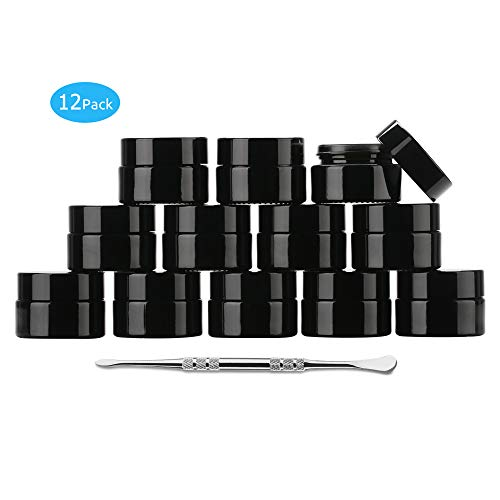 Coolpen UV Protection Small Glass Jars With Lids Reusable 5ml 10ml 20ml Black Food Glass Bottle Mini Airtight Container For Herb Oil Salve Cream leaf Storage 1 Wax Carving Tools(black, 5ml)