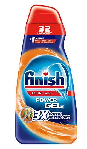 Finish Powergel, Gel Detersivo per Lavastoviglie Liquido, Multiazione, Anti-odore, 32 Lavaggi