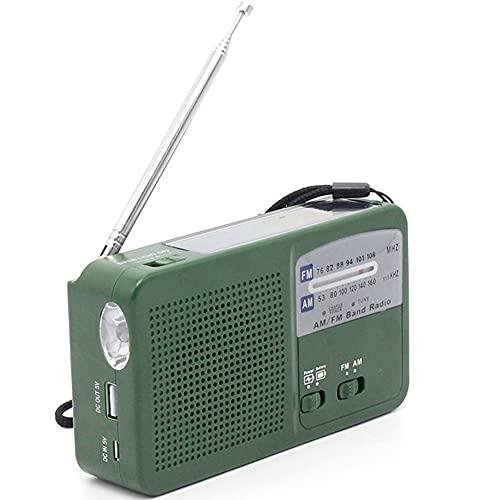 GEQWE Radio Portátil Am/FM, Radio De Bolsillo Retro con La Mejor Recepción, Conector para Auriculares, Transistor Personal A Batería, Carga Solar para Trotar, Caminar Y Viajar,Verde