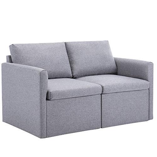 PURLOVE Sofa 2 Sitzer, Couch mit Bezug aus Leinenimitat, Polstermöbel für kleine Wohnungen, Gästezimmer, Jugendzimmer,einfacher Aufbau,mit feuerfestem Material, beige (Grau, 2 Seater)