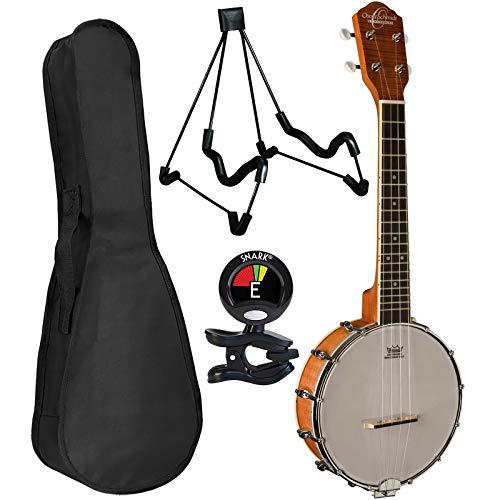 Oscar Schmidt OUB1 Banjo Ukulele Bundle with Padded Gig Bag, Tuner, and Stand