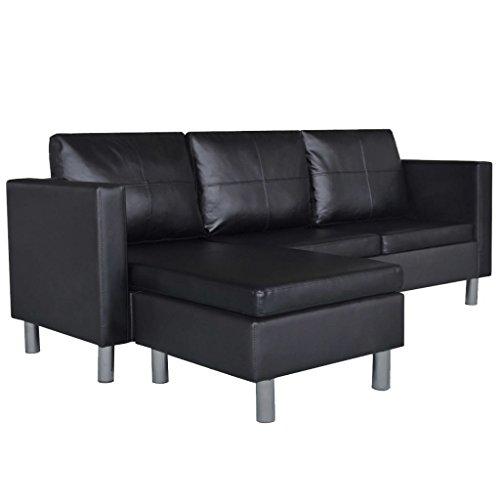 Roderick Irving Sofá modular de 3 plazas, de piel sintética, color negro, diseño único, robusto y resistente, sofá de salón moderno