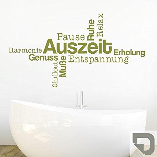 DESIGNSCAPE® Wandtattoo Wortwolke Auszeit | Wandtattoo Bad | Wanddekoration Entspannung Relax 80 x 44 cm (Breite x Höhe) grau DW803482-S-F6