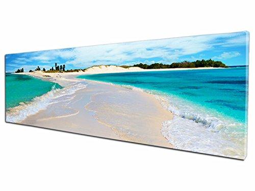 Foto Canvas Cuadro Playa de Los Roques Venezuela | Fotografía Panorámica Impresa en Lienzo | Cuadros Mini Panorámicos Listos para Colgar | Decoración Tamaño 60 x 15 cm