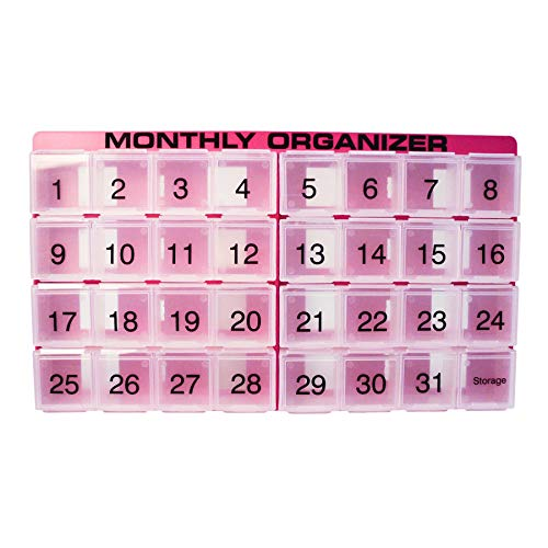 31 Day Pill Organizer | 1 per Day, 4 Week, 31 Compartments + Storage Monthly Pill Organizer | Includes Tray and 8 Removable compartments