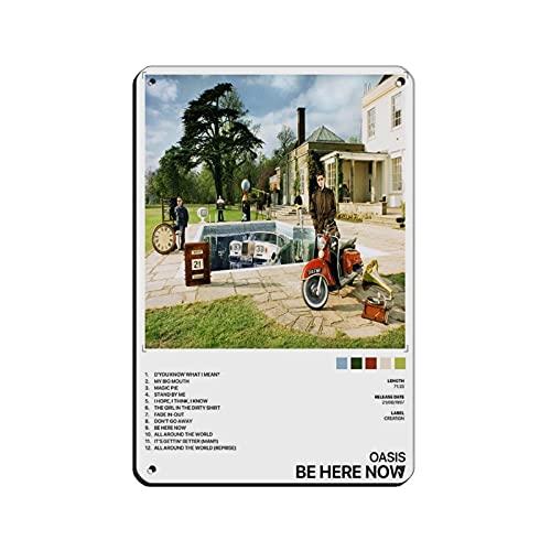 Oasis Be Here Now - Poster su tela, decorazione da parete, per soggiorno, camera da letto, 20 x 30 cm, colore: bianco