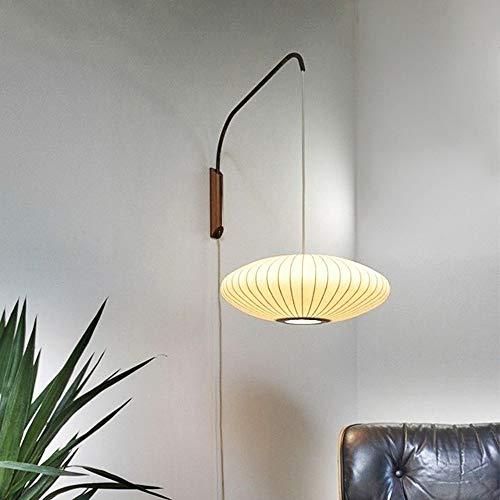 Yangmanini Lámpara Oval Seda Natural Tela Pared del LED, Conmutador De Extracción, Luz Estilo Japonés Adecuado For Sala De Estar/Dormitorio De Noche/Corredor (45 * 45 * 18 Cm)