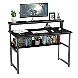 Black Computer Desk with Monitor Shelf, 47 inch Home Office Desk with Bookshelf,...
